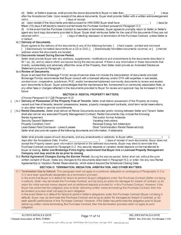 ハワイ不動産売買契約書の11ページ