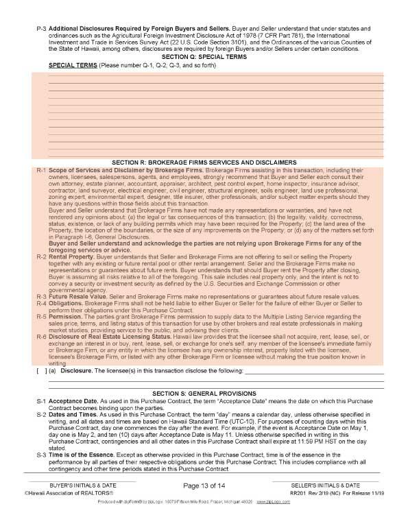 ハワイ不動産売買契約書の13ページ