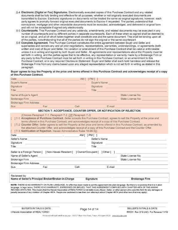 ハワイ不動産売買契約書の14ページ